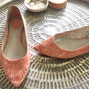 Johnston and Murphy coral peach suede ballet flats